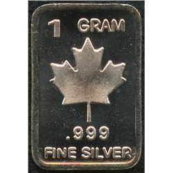 1 Gram .999 Silver Maple Leaf Bullion Bar