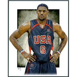 Lebron James Team USA Limited Edition 11x14 Signed Art Print by Jeff Lang (Artist Proof #3/3)