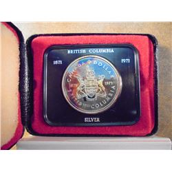 1971 CANADA BRITISH COLUMBIA SILVER $ PROOF NICE TONING, .3750 OZ. ASW, ORIGINAL ROYAL CANADIAN MINT
