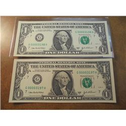 2-2003-A $1 FRN'S LOW CONSECUTIVE SERIAL 'S UNC SERIAL NUMBERS ARE:G00003197H-G00003198H