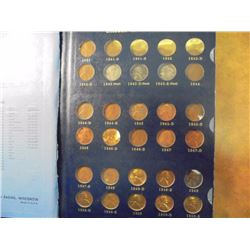 1941 & UP LINCOLN CENT ALBUM COMPLETE THROUGH 1968. 78 COINS IN DELUXE WHITMAN ALBUM. NO 1955 DOUBLE