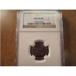 1956 LINCOLN CENT NGC MS64BN