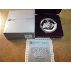 1987 CANADA DAVIS STRAIT SILVER DOLLAR PROOF .3750 OZ. ASW, ORIGINAL ROYAL CANADIAN MINT PACKAGING