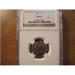 1957 JEFFERSON NICKEL NGC PF67