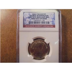 2007-D GEORGE WASHINGTON DOLLAR NGC BRILLIANT UNC 1ST DAY ISSUE