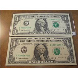 2-2003-A $1 FRN'S LOW CONSECUTIVE SERIAL 'S UNC SERIAL NUMBERS ARE:G00003650H-G00003651H