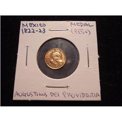 GOLD 1822-1823 MEXICO MEDAL (PESO)