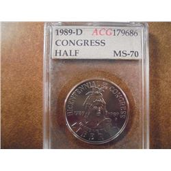 1989-D CONGRESS HALF DOLLAR UNC ACG SLAB