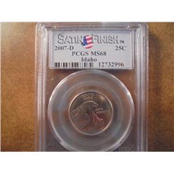 2007-D IDAHO QUARTER PCGS MS68 SATIN FINISH