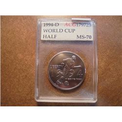 1994-D WORLD CUP HALF DOLLAR UNC ACG SLAB