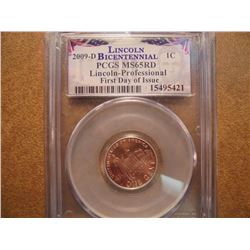 2009-D LINCOLN CENT PROFESSIONAL PCGS MS65RD 1ST DAY ISSUE
