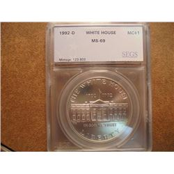 1992-D WHITE HOUSE SILVER DOLLAR UNC SEGS SLAB