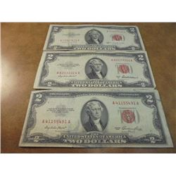 1953,53-A & 53-B $2 US NOTES RED SEALS