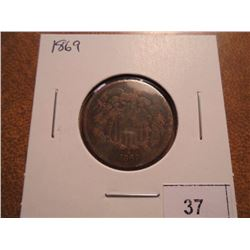 1869 US TWO CENT PIECE
