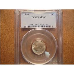 1946 SILVER ROOSEVELT DIME PCGS MS66
