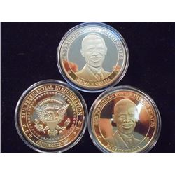 3-2009 BARACK OBAMA INAUGURATION TOKENS (PF) ALL THREE ARE GOLD IN COLOR AND SILVER DOLLAR SIZED