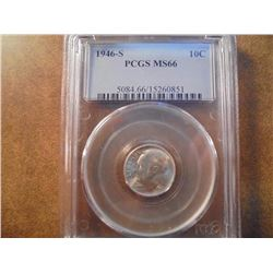 1946-S SILVER ROOSEVELT DIME PCGS MS66