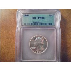 1961 WASHINGTON SILVER QUARTER ICG PR68