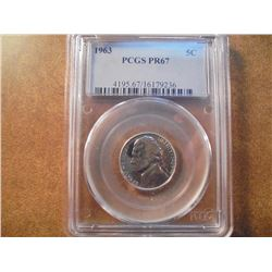 1963 JEFFERSON NICKEL PCGS PR67 NICE BLUISH TONING
