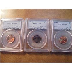 3 PCGS SLABBED LINCOLN CENTS SEE DESCRIPTION 1971-S PR64RD, 1974-D AU58 AND 1974-D MS65RD