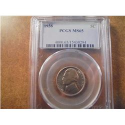 1938 JEFFERSON NICKEL PCGS MS65