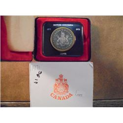 1971 CANADA BRITISH COLUMBIA SILVER DOLLAR (PFL) .3750 OZ. ASW, TONED, ORIGINAL ROYAL CANADIAN MINT