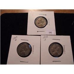 1945 P/D/S 35% SILVER JEFFERSON WAR NICKELS