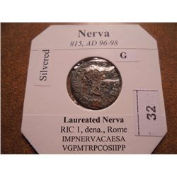 SILVERED 96-98 A.D. NERVA ANCIENT COIN