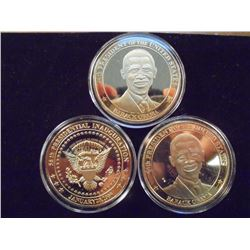 3-2009 BARACK OBAMA INAUGURATION TOKENS (PF) ALL THREE ARE GOLD IN COLOR AND ARE SILVER DOLLAR SIZED