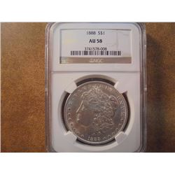 1888 MORGAN SILVER DOLLAR NGC AU58