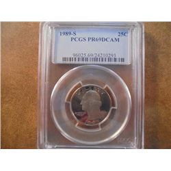 1989-S WASHINGTON QUARTER PCGS PR69 DCAM