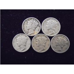 5 ASSORTED MERCURY DIMES