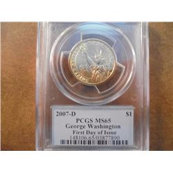 2007-D GEORGE WASHINGTON DOLLAR PCGS MS65 1ST DAY ISSUE
