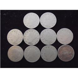 "10 ASSORTED 1890'S LIBERTY ""V"" NICKELS"