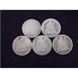 5 ASSORTED 1870'S SEATED LIBERTY DIMES