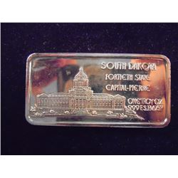 24KT GOLD PLATED 1 OZ. SILVER INGOT SOUTH DAKOTA
