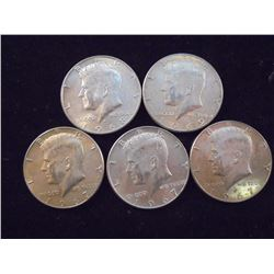 5 ASSORTED 40% SILVER JOHN F. KENNEDY HALVES
