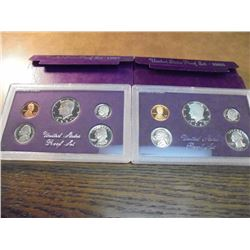1985 & 1987 US PROOF SETS (WITH BOXES)