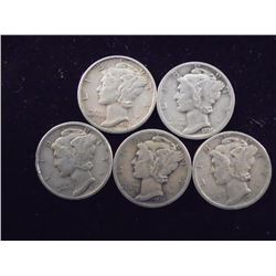 5 ASSORTED 1930'S MERCURY DIMES