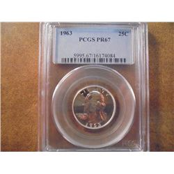 1963 WASHINGTON SILVER QUARTER PCGS PR67