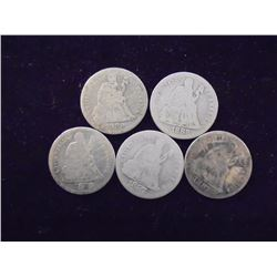 5 ASSORTED 1880'S SEATED LIBERTY DIMES