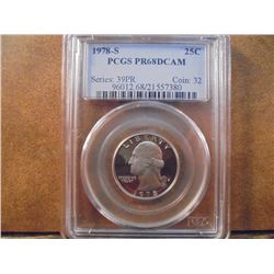 1978-S WASHINGTON QUARTER PCGS PR68 DCAM