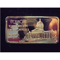24KT GOLD PLATED 1 TROY OZ. .999 SILVER VERMONT