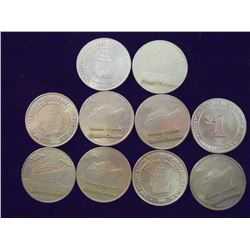 10 ASSORTED $1 CASINO GAMING TOKENS FROM CLOSED CASINOS