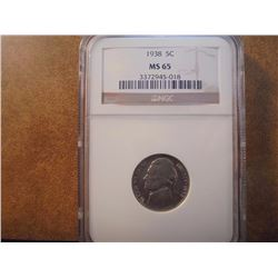 1938 JEFFERSON NICKEL NGC MS65