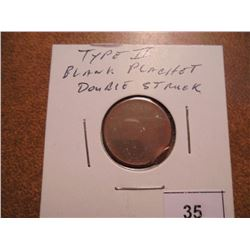ERROR LINCOLN CENT TYPE II BLANK PLANCHET