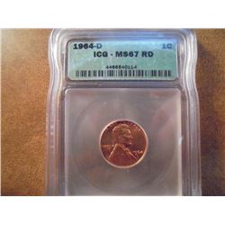 1964-D LINCOLN CENT ICG MS67RD