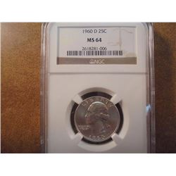 1960-D WASHINGTON SILVER QUARTER NGC MS64