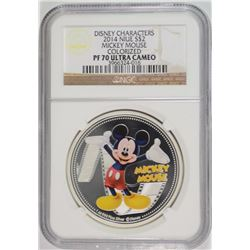 2014 NIUE ONE OUNCE SILVER MICKEY MOUSE COLORIZED COIN NGC PF-70 ULTRA CAMEO
