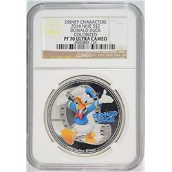 2014 NIUE ONE OUNCE SILVER DONALD DUCK COLORIZED COIN NGC PF-70 ULTRA CAMEO